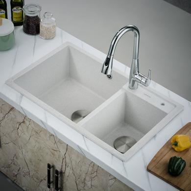 【高檔商品】九牧水槽雙槽廚房石英石水槽家用洗菜盆水池水盆洗碗盆06177(包安裝)