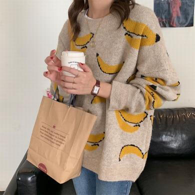 修允菲趣味香蕉圖案針織毛衣女2019秋冬季韓版寬松休閑毛衫HZM9497