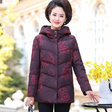 妙芙琳 媽媽裝冬裝羽絨服白鴨絨加厚保暖外套中老年女裝新款奶奶裝短款