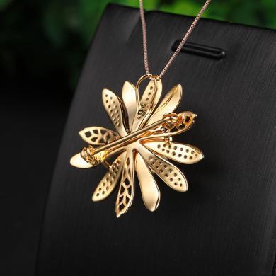 風下Hrfly創意新款精選925銀天然和田玉玫瑰金太陽花飾品白玉吊墜胸針兩用