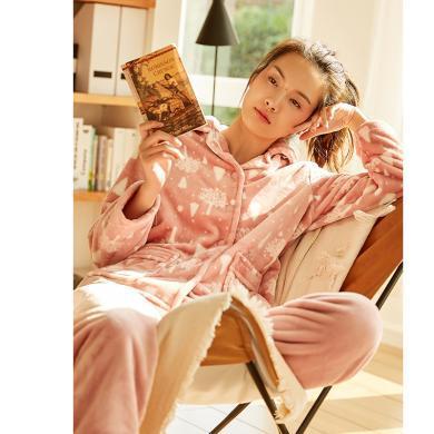 頂瓜瓜睡衣女法蘭絨家居服套裝可愛少女風開襟翻領珊瑚絨保暖居家