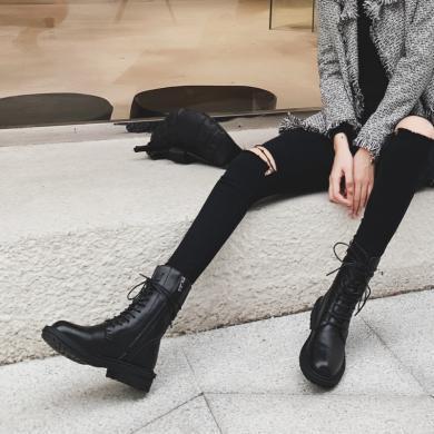 新款牛皮英伦风休闲短靴系带潮流百搭马丁靴学院风女靴37D-S7972