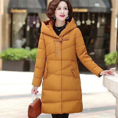 妙芙琳  冬季中老年女裝羽絨服中年媽媽裝白鴨絨繡花連帽外套中國風