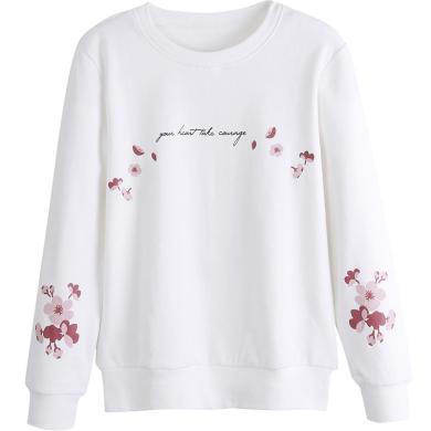 右姿 新款潮韓版白色衛衣女寬松慵懶風套頭秋薄款長袖T恤女