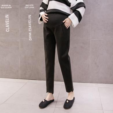 摩登孕媽 毛呢孕婦褲女冬季新款時尚韓版寬松加絨加厚直筒高腰托腹褲