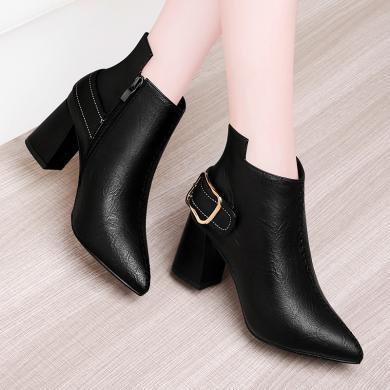 百年紀念 尖頭粗跟高跟鞋女靴側拉鏈時尚高跟鞋女短靴bn1976