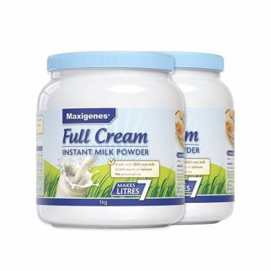 【2罐】澳洲Maxigenes美可卓 蓝胖子成人全脂奶粉 营养牛奶1000g/罐 学生奶粉 香港直邮