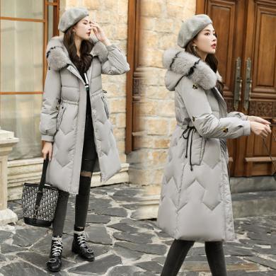 DOWISI實拍新款韓版時尚腰帶修身羽絨棉服中長款棉衣大毛領寬松棉服外套女HS3666