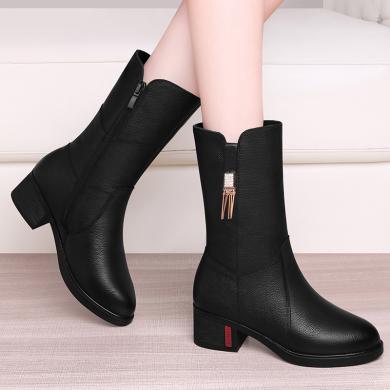 古奇天伦皮靴女粗跟牛皮加绒靴子冬天秋冬季皮鞋棕色妈妈中筒靴9717