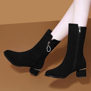 古奇天伦磨砂中筒靴女粗跟冬季加绒皮靴绒面翻毛皮鞋高跟短靴9754