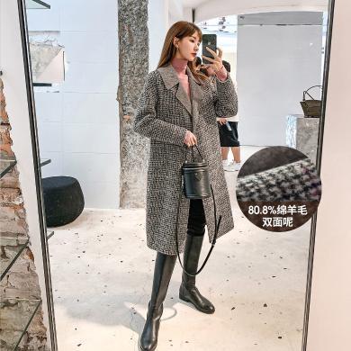 七格格毛呢外套女秋冬季2019新款加厚寬松氣質中長款格紋呢子大衣