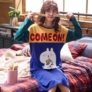 俞兆林秋冬款睡裙棉質女士睡衣 睡裙韓版睡衣 睡裙大碼睡衣 家居服 可外穿睡裙 睡衣 睡裙YG5401-5404