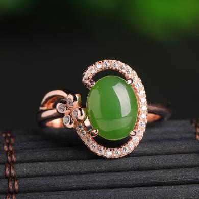 风下Hrfly新款925银镶碧玉戒指女带证书天然绿色玉石个性玫瑰金和田玉指环