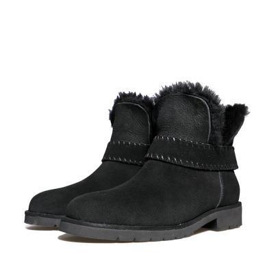 百田森 PYQ78323 冬季雪地靴女皮毛一體短筒磨砂保暖加絨短靴