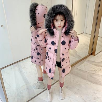 銘佳童話新款韓版女童裝棉服外套兒童洋氣冬裝棉襖女孩中長款加厚棉衣W9505MF01009
