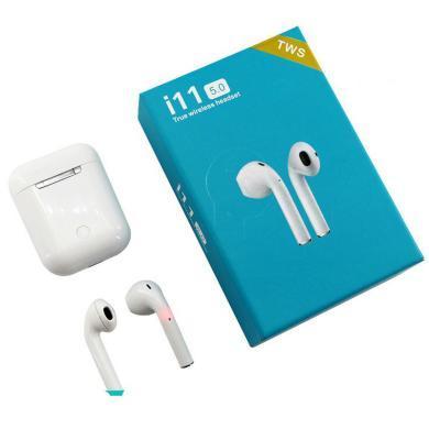 真無線藍牙耳機 I11白色觸摸版 雙耳運動跑步隱形入耳掛 藍牙5.0+真銅環真立體+彈窗