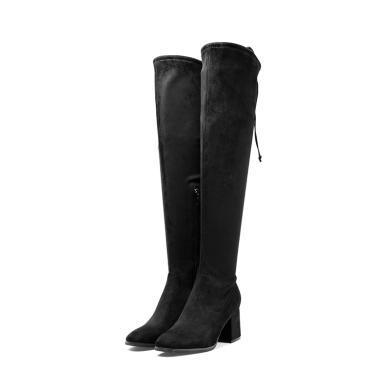 百田森 新款長筒靴方頭高跟舒適時裝冬靴PYQ17865
