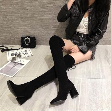 【7CM跟高】MJ女鞋過膝長靴冬季長筒靴粗跟網紅顯瘦瘦靴小個子彈力靴子女