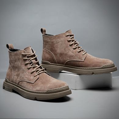 公牛世家秋冬季新款英伦风马丁靴百搭高帮靴子男韩版休闲男短靴 79797