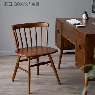 優家工匠實木家具北歐輕奢實木書椅成人家用經濟型餐廳靠背餐椅休閑辦公椅子