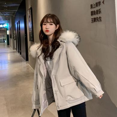 DOWISI實拍2019秋冬新款羽絨棉服女韓版短款棉衣裝大毛領短款外套MS5961