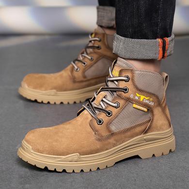 公牛世家2019秋冬新款馬丁靴青年潮流工裝鞋男士潮流復古高幫潮鞋 888760