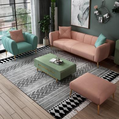 HJMM北歐輕奢布藝沙發小戶型客廳極簡網紅款臥室女單人三人座沙發組合