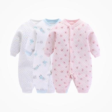丑丑婴幼保暖新生儿婴儿连体衣男女宝宝爬服套装哈衣