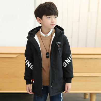 ocsco 秋冬新款童装韩版加绒加厚男童外套挂扣贴标中大儿童夹克潮