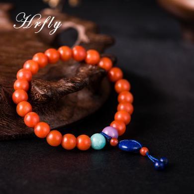 风下Hrfly 原创设计手串 四川南红圆珠手串 满肉 柿子红 复古优雅