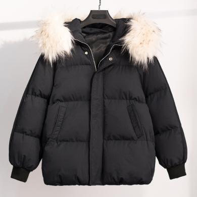 芃拉冬季新款大碼胖mm加肥加大時尚洋氣加厚保暖短款棉衣ONL624