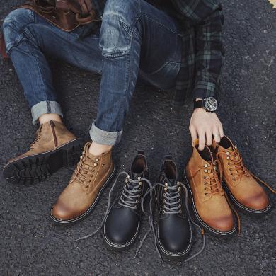 OKKO馬丁靴2019年新款秋季男百搭英倫中高幫工裝靴復古潮戶外男鞋