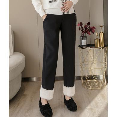 妃孕寶 孕婦褲冬季新款高腰托腹褲加絨加厚羊羔絨毛呢褲寬松顯瘦直筒褲女