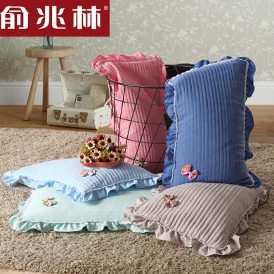 俞兆林家紡蕎麥枕水洗棉蝴蝶結蕎麥枕頭護頸成人學生枕頭 YMX0001