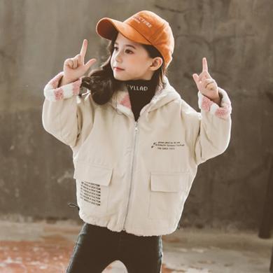 ocsco 女童連帽外套秋冬新款時尚兒童外套中大童兩面穿印花毛毛衣