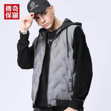 傳奇保羅棉馬甲男2019冬季新款黑色無袖坎肩連帽男士修身保暖外套493302
