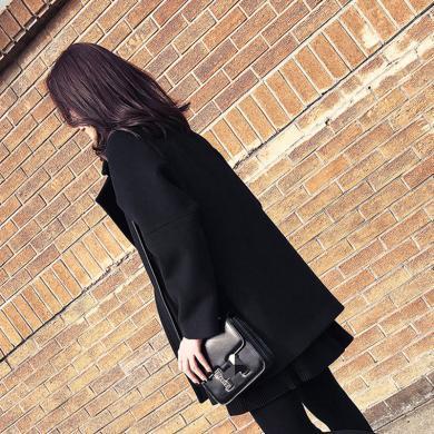 姝奕新款黑色毛呢外套女寬松中長款加厚呢子大衣HD-W019
