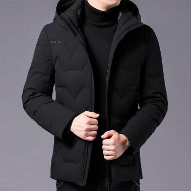 花花公司貴賓 新款修身帥氣冬季加厚羽絨服男中青年男士冬裝保暖外套潮