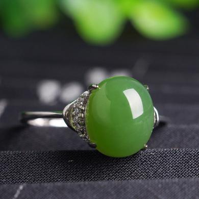 風下Hrfly天然和田玉碧玉戒指女帶證書民族風開口925銀鑲玉戒指