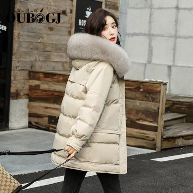 OUBOGJ 白鴨絨羽絨服新款女時尚韓版中長款寬松加厚冬款外套19D92183