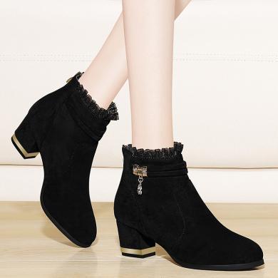 金?#23458;?#30701;靴女靴子百搭新款秋款冬款网红瘦瘦高跟粗跟女鞋子