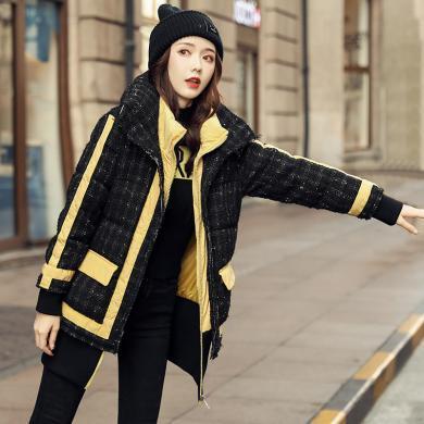 OUBOGJ  派克羽绒服女短款加厚冬款新款时尚宽松白鸭绒黑色格子外套19D98816