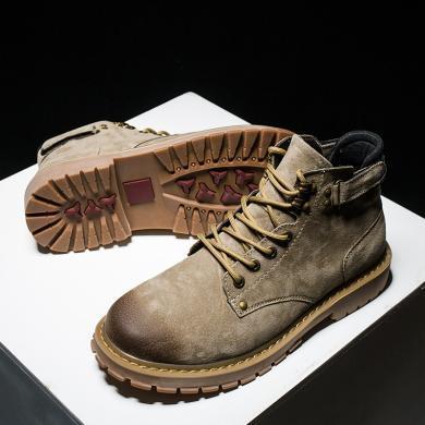 OKKO2019新款男鞋冬季加絨棉鞋百搭工裝鞋子男潮鞋馬丁靴男高幫靴子男MR6789