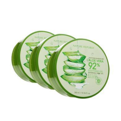 【支持購物卡】【3罐裝】韓國 Nature Republic/自然樂園蘆薈膠 保濕祛痘 3罐*300ml