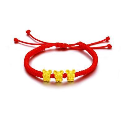 翠绿黄金手链本命年鼠生肖三福鼠红绳手串 金重约0.4g A08000000002