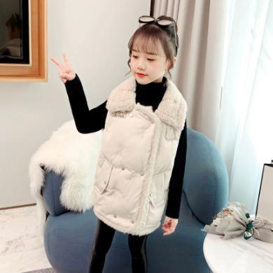 銘佳童話新款冬季時髦女童裝外套兒童洋氣秋冬裝坎肩女大童保暖潮馬甲W9556MJ06528