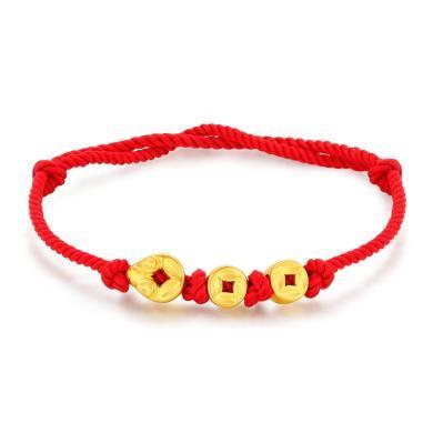 潮宏基珠寶鼠錢錢黃金手鏈串珠足金轉運珠3D硬金紅繩編織金幣 金重約1.1g SCG30003094