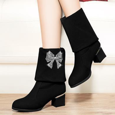 金丝兔新款秋冬季中跟粗跟百搭中筒靴高筒网红瘦瘦长靴女靴子女鞋子