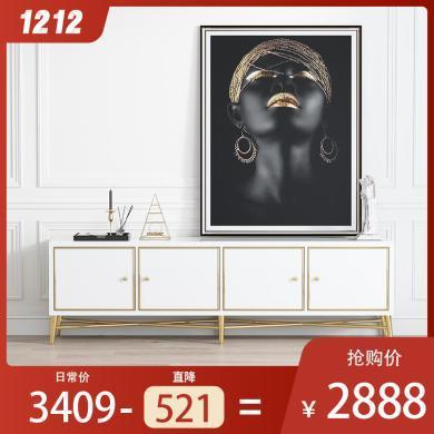 慕梵迪 电视柜1.8米(黑、白、) 现代轻奢 高密度板+高?#20937;?#28422;+不锈钢五金 B0002