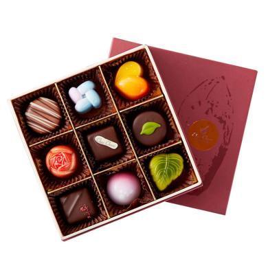 巧克巧蔻定制9粒裝手工夾心巧克力-情人節創意禮物送女朋友送禮拜訪生日禮物